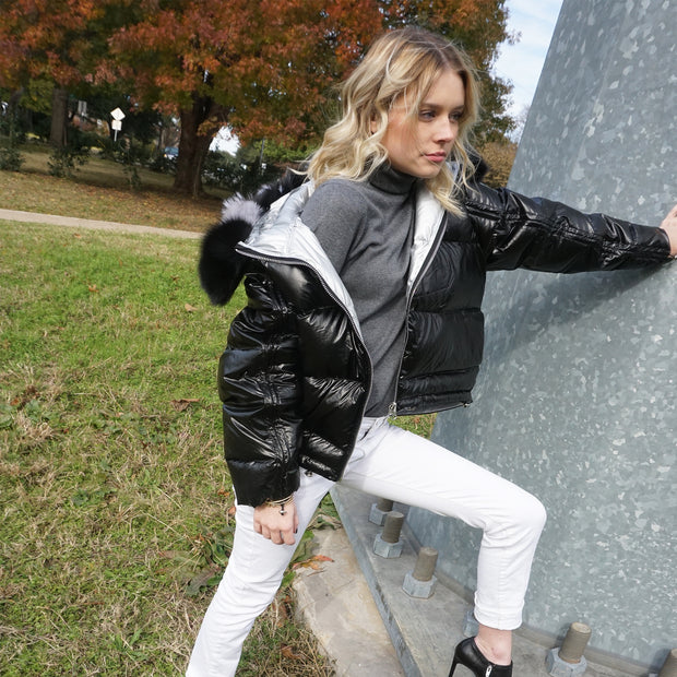 """Fabulously Hot & Cold"" • Black & Silver Reversible Puffer Jacket with Fox Fur Hoodie"