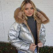 "LAST ONE ""Fabulously Hot & Cold"" • Champagne Bronze & Silver Reversible Puffer Jacket with Fox Fur Hoodie"