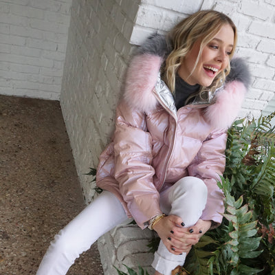 """Fabulously Hot & Cold"" • Pink & Silver Reversible Puffer Jacket with Fox Fur Hoodie"