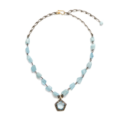 "Front view of HARPER HALLAM || ""Somewhere, Beyond the Sea"" Aquamarine Necklace. This selection by Harper Hallam is for a stunning raw aquamarine rosary chain that carries a delicate aquamarine pendant with diamond pave surround.  The necklace hits loose at the neckline, but is adjustable from 17-20 inches."