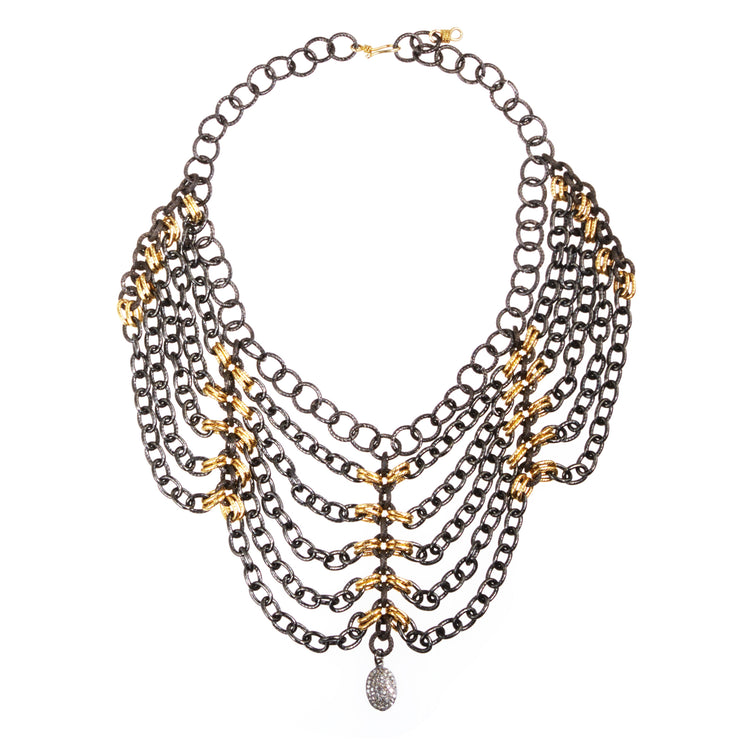"""A POWER PLAY"" • Oxidized Collar Necklace & Gold Accents"