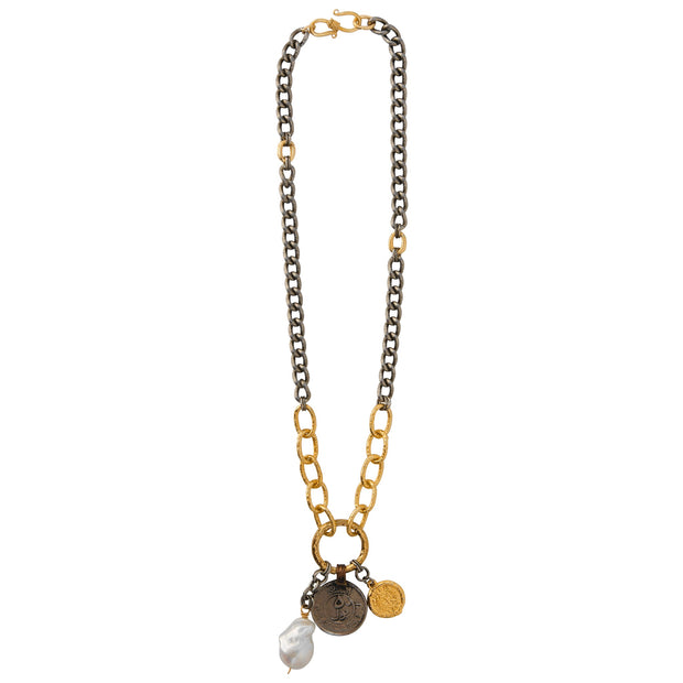 GIRL BOSS GOALS, TOO • Pearl & Coin Charm Necklace