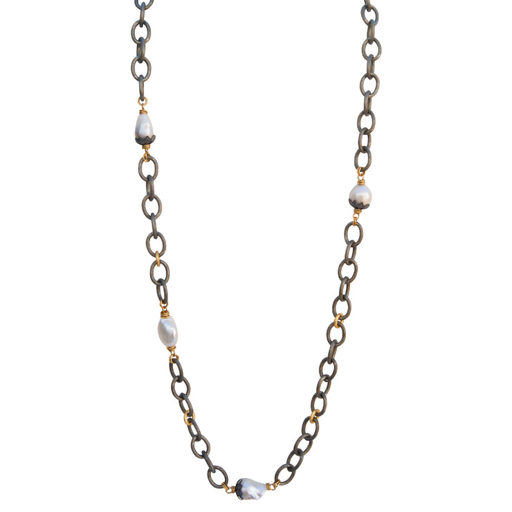 WROTE THE PEARL CODE • Diamond & Pearl Hammered Necklace