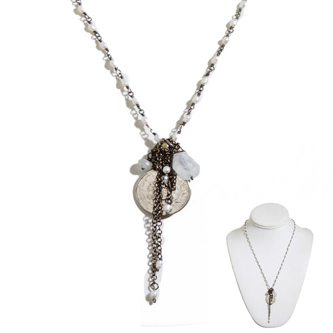 """The Bucks Can Stop Here"" • Pearl Rosary Bead, Moonstone & Coin"