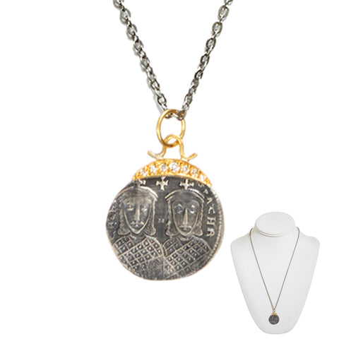 """Soul Mate Potential"" • Byzantine Royal Couple Coin Necklace"