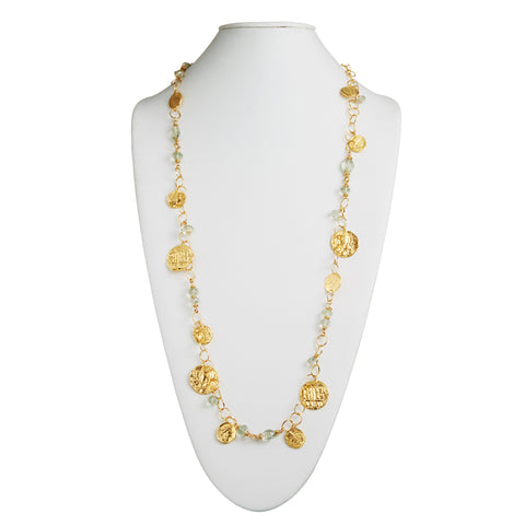 "HARPER HALLAM • ""My Sweet Moneda in the City"" Gold Coin & Citrine Necklace"