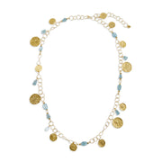 "HARPER HALLAM • ""My Sweet Moneda by the Ocean"" Gold Coin & Aquamarine Necklace"