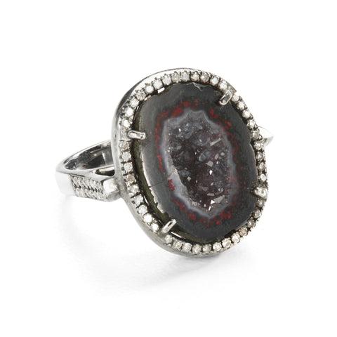 "HARPER HALLAM || ""Back in Black"" Diamond and Black Geode Cavity Ring (front view)"