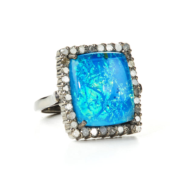 "HARPER HALLAM || ""That's Why They Call it the Blues"" Opal Ring front view"