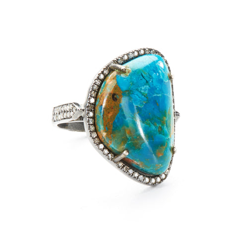 "HARPER HALLAM || ""Something in the Water III"" Turquoise Slab Ring (side view)"