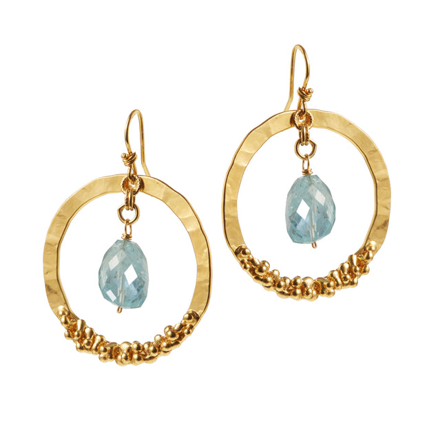 "HARPER HALLAM • ""Gold Digger by the Beach"" • Drop Circle Earrings in Yellow Gold"