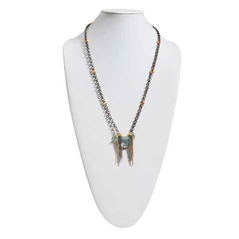 """Come As You Are"" to the Beach • Labradorite Half-Moon with Drop Chain Necklace"
