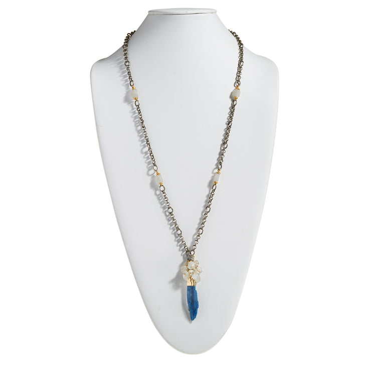 "HARPER HALLAM • ""It Comes Naturally Blue too"" Kyanite Necklace with Moonstone"