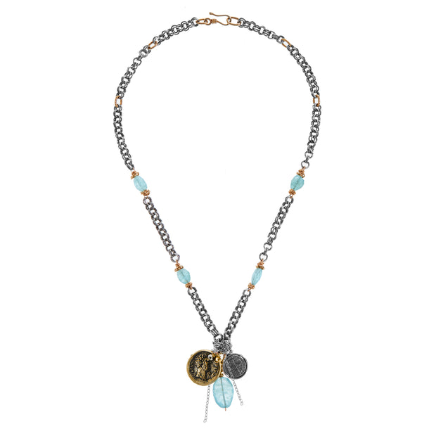 """Have Cents by the Ocean"" •  Short Necklace with Aquamarine and Coins"