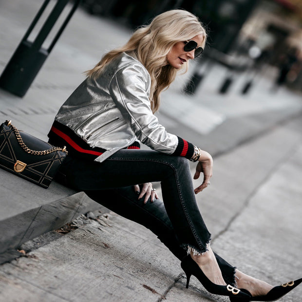 "Harper Hallam ""She Lettered in Bad-A$$sery"" Metallic Varsity Jacket in Silver on Blogger Heather Anderson of @soheatherblog"