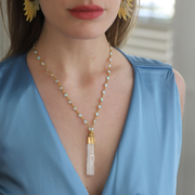 Go Your Own Way • Gold Rosary Necklace with Vertical Selenite Bar