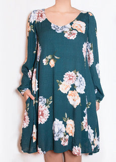 Aster Dress Teal Floral