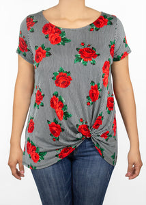 Nerine T-Shirt Black Rose Floral