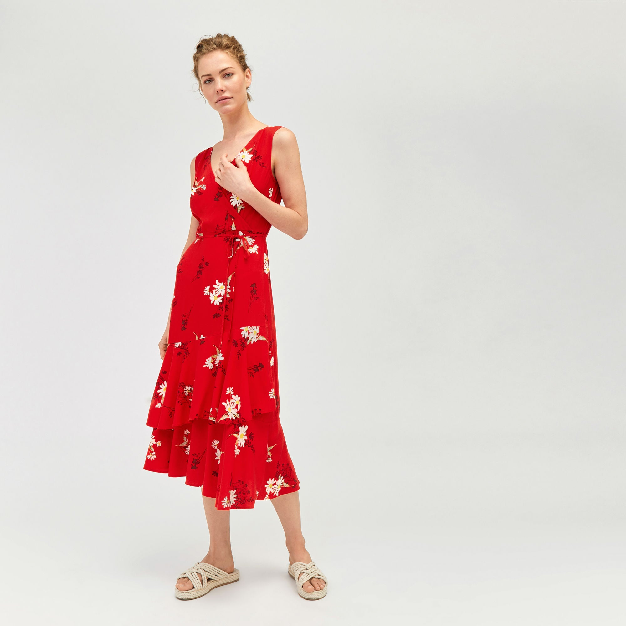 the latest new lifestyle sale retailer Warehouse Red Daisy Wrap Midi Dress – The Cut Label