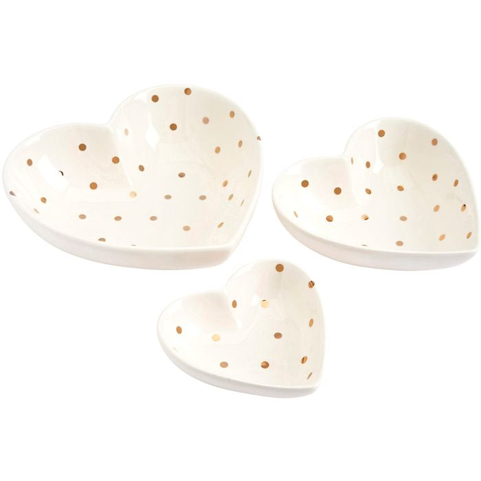 Set Of 3 Heart Dishes