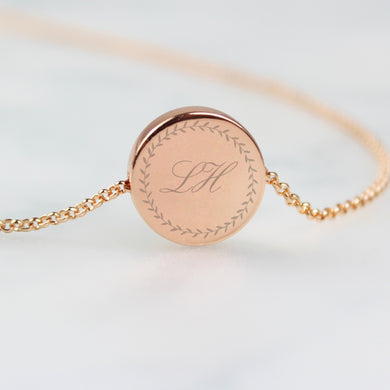 Rose Gold Personalised Wreath Initials Disc Necklace