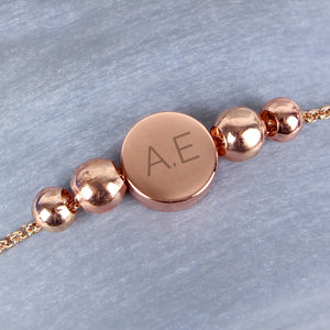 Personalised Rose Gold Tone Initials Disc Bracelet