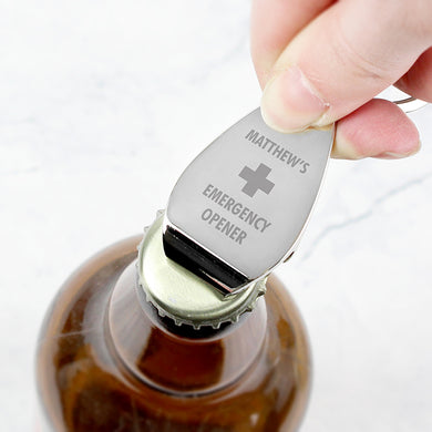 Personalised Emergency Bottle Opener Keyring