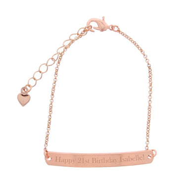 Personalised Rose Gold Tone Bar Bracelet