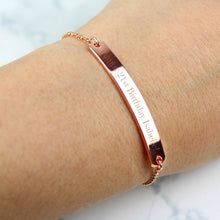 Load image into Gallery viewer, Personalised Rose Gold Tone Bar Bracelet