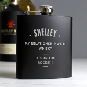 Personalised  Black Hip Flask - Add any message!