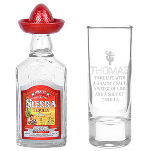 Personalised Tequila Shot Glass and Miniature Tequila