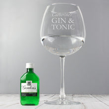 Load image into Gallery viewer, Personalised Gin & Tonic Balloon Glass with Gin Miniature Set