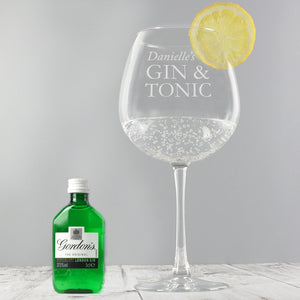 Personalised Gin & Tonic Balloon Glass with Gin Miniature Set