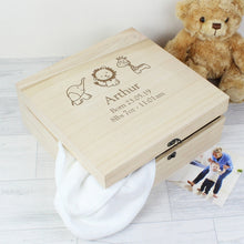 Load image into Gallery viewer, Personalised Hessian Friends Large Wooden Keepsake Box