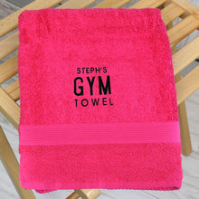 Load image into Gallery viewer, Personalised Bright Pink Gym Towel