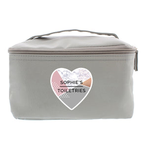 Personalised Geometric Grey Make Up Wash Bag