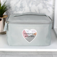 Load image into Gallery viewer, Personalised Geometric Grey Make Up Wash Bag