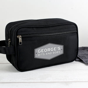 Personalised Plaque Black Wash Bag For Him