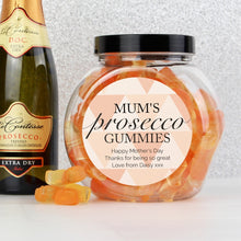 Load image into Gallery viewer, Personalised Geometric Rose Gold Prosecco Gummies Jar