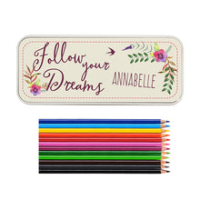 Load image into Gallery viewer, Personalised Dreams Pencil Tin with Pencil Crayons