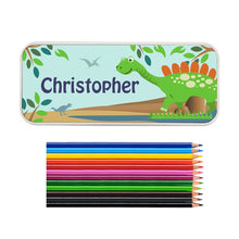 Load image into Gallery viewer, Personalised Dinosaur Pencil Tin with Pencil Crayons