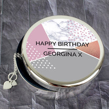 Load image into Gallery viewer, Personalised Geometric Round Trinket Box