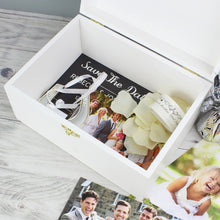 Load image into Gallery viewer, Personalised Rustic Heart White Wooden Keepsake Box