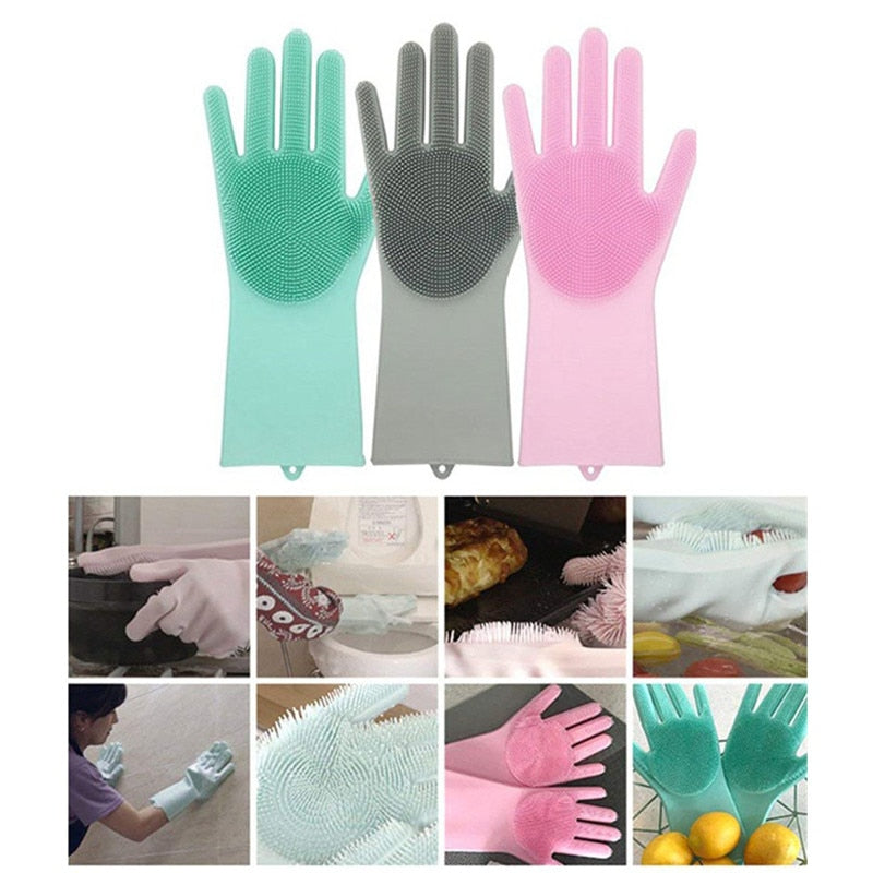 A Pair Magic Silicone Scrubber Rubber Cleaning Gloves Dusting Dish Washing Pet Care Grooming Hair Car Insulated Kitchen Helper