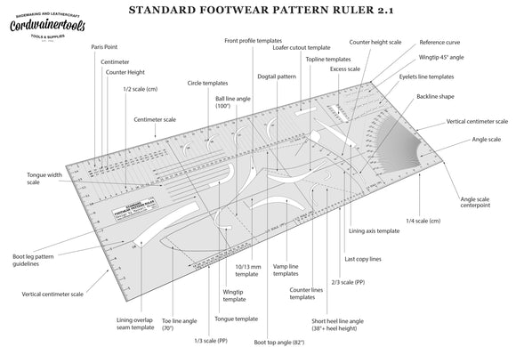 NEW PROFESSIONAL FOOTWEAR PATTERN RULER 2.1 by Cordwainer Tools
