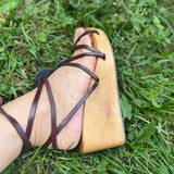 Wooden square toe wedge clog sole