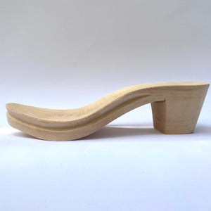 Wooden clog heel almond toe