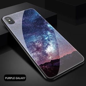 Space Shockproof Tempered Glass Case For Iphone