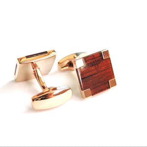 Square Wooden Gold Cufflinks