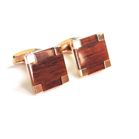 Image of Square Wooden Gold Cufflinks